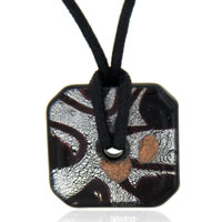 relation - murano glass dark purple and silver foil square necklace pendant Image.