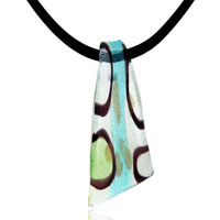 Murano Glass Jewelry - murano glass sky blue blade lampwork necklace pendant Image.