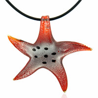 relation - murano glass orange starfish lampwork necklace pendant Image.