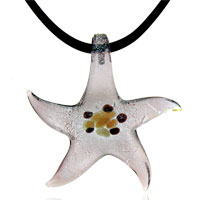 relation - murano glass deep pink starfish lampwork pendant necklace Image.