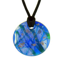 Necklaces - murano glass blue silver foil round pendant necklaces Image.