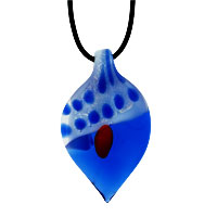 Murano Glass Jewelry - murano glass sapphire blue leaf lampwork pendant necklace Image.