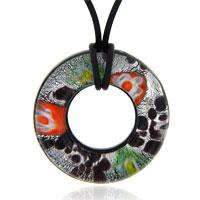Murano Glass Jewelry - murano glass purple round lampwork pendant necklace Image.