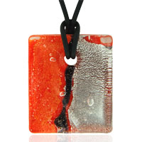 Necklaces - murano glass fire orange necklace pendant Image.