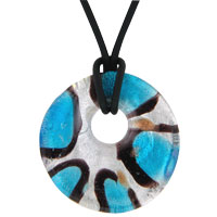 relation - murano glass blue black stripes round necklace pendant Image.