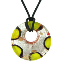 Earrings - murano glass green yellow round lampwork necklace pendant earrings Image.