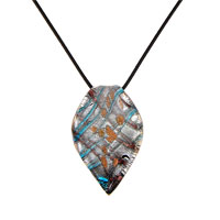 Necklaces - murano glass blue striped leaf oval necklace pendant Image.