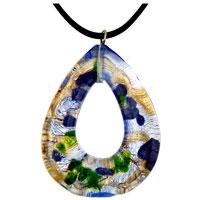 Necklace & Pendants - murano glass multicolor hollow teardrop necklace pendant Image.