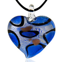 Necklaces - murano glass blue heart fashion jewelry pendants necklaces Image.