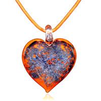 PD_MU182_XML: murano glass orange heart with purple pendant necklace Image.