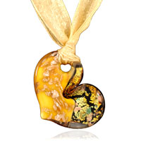 Necklaces - murano glass gold and purple heart pendant necklace Image.