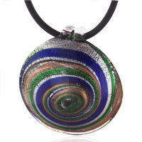 Necklaces - mothers day gifts murano glass round multicolored spiral necklace pendant Image.