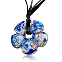 Necklace & Pendants - silver foil blue peach blossom murano glass pendant necklace Image.