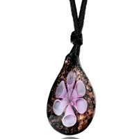 Necklace & Pendants - pink flower encased golden droplet murano glass pendant necklace earrings Image.