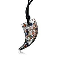Necklace & Pendants - men' s silver foil speckled horn murano glass pendant necklace Image.