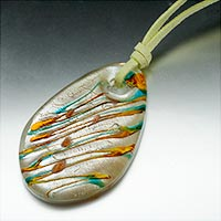 relation - ivory white orange blue stripe oval murano glass pendant necklace Image.