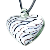 Murano Glass Jewelry - black brown stripe white heart murano european pendant necklace Image.