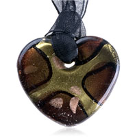 Necklaces - mothers day gifts murano glass dark brown golden heart pendant necklace Image.