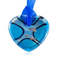 Necklace & Pendants - silver foil pale blue heart pendant necklace Image.