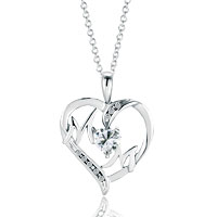 Sterling Silver - sterling silver clear crystal cz heart love mom pendant necklace sterling silver pendant Image.
