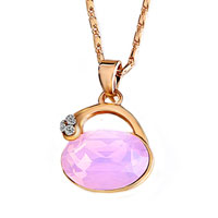 Necklace & Pendants - pure pink golden pendant necklace think support breast cancer awareness Image.