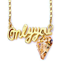Necklace & Pendants - 18 k gold plated only you messge heart topaz crystal pendant necklace Image.