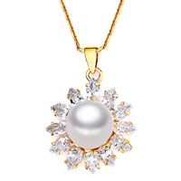 Necklace & Pendants - beautiful white glass crystal cz freshwater pearl pendant necklace Image.