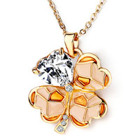 Necklace & Pendants - golden four leaf clover april birthstone clear swarovski valentine pendants necklace Image.