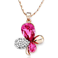 Necklace & Pendants - rose golden four leaf clover clear detailed pink swarovski october birthstone rose pendant necklace for women Image.