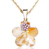Necklace & Pendants - golden flower crystal cz light topaz pendant necklace for women Image.