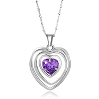 Necklace & Pendants - silver outlined heart tanzanite rhinestone crystal pendant Image.