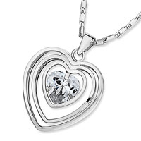 Necklace & Pendants - silver outlined heart april birthstone clear swarovski crystal pendant necklace for women Image.