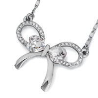 Necklace & Pendants - silver bowknot april birthstone clear swarovski crystal pendant necklace for women Image.