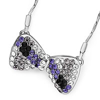 Necklace & Pendants - silver bowtie clear black tanzanite rhinestone crystal pendant necklace for women Image.