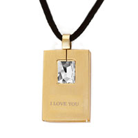 "Necklace & Pendants - mothers day gifts golden rectangle clear crystal "" i love you""  pendants Image."