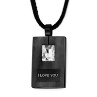 "Mom Jewelry - mothers day gifts black rectangle clear crystal "" i love you""  pendants Image."