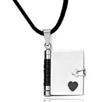 Necklace & Pendants - filigree vintage antique openable book heart black pages pendant Image.