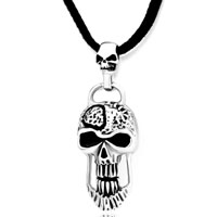 Necklace & Pendants - stainless steel vintage vivid pewter pirate skull pendant necklace Image.