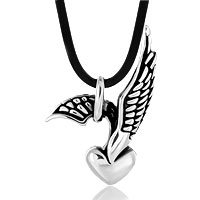 Stainless Steel Jewelry - punk gothic men' s vintage silver eagle heart pendant necklace s 23 Image.