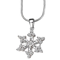 Sterling Silver Jewelry - snowflake 925 sterling silver pendant necklace jewelry Image.