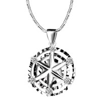 Sterling Silver Jewelry - triple ring star 925 sterling silver pendant necklace jewelry Image.