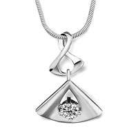 Sterling Silver Jewelry - 925 sterling silver 8 dangle fan april birthstone clear crystal round pendant jewelry Image.