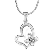 Necklace & Pendants - 925 sterling silver heart cross april birthstone clear crystal round jewelry pendant necklace Image.