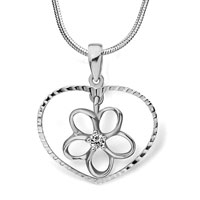 Sterling Silver Jewelry - 925 sterling silver heart decorative pattern dangle flower round clear crystal pendant jewelry Image.