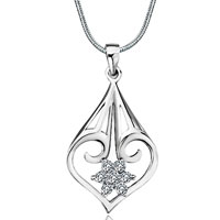 Sterling Silver Jewelry - 925 sterling silver decorative heart april birthstone clear crystal flower pendant jewelry Image.