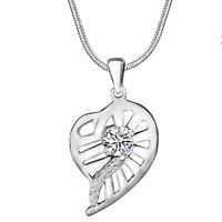 Sterling Silver Jewelry - 925 sterling silver heart shaped leaf round april birthstone clear crystal pendant jewelry Image.