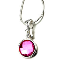 Necklace & Pendants - round pink crystal cubic zirconia pendant necklace for fashion women earrings Image.
