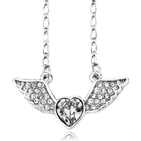 relation - angel wing necklace april birthstone clear white swarovski crystal heart pendant Image.