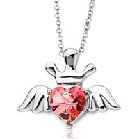 Necklace & Pendants - july birthstone light siam swarovski crystal heart wings crown pendant necklace for women Image.