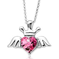 Necklace & Pendants - october birthstone rose swarovski crystal heart wings crown pendant necklace for women Image.